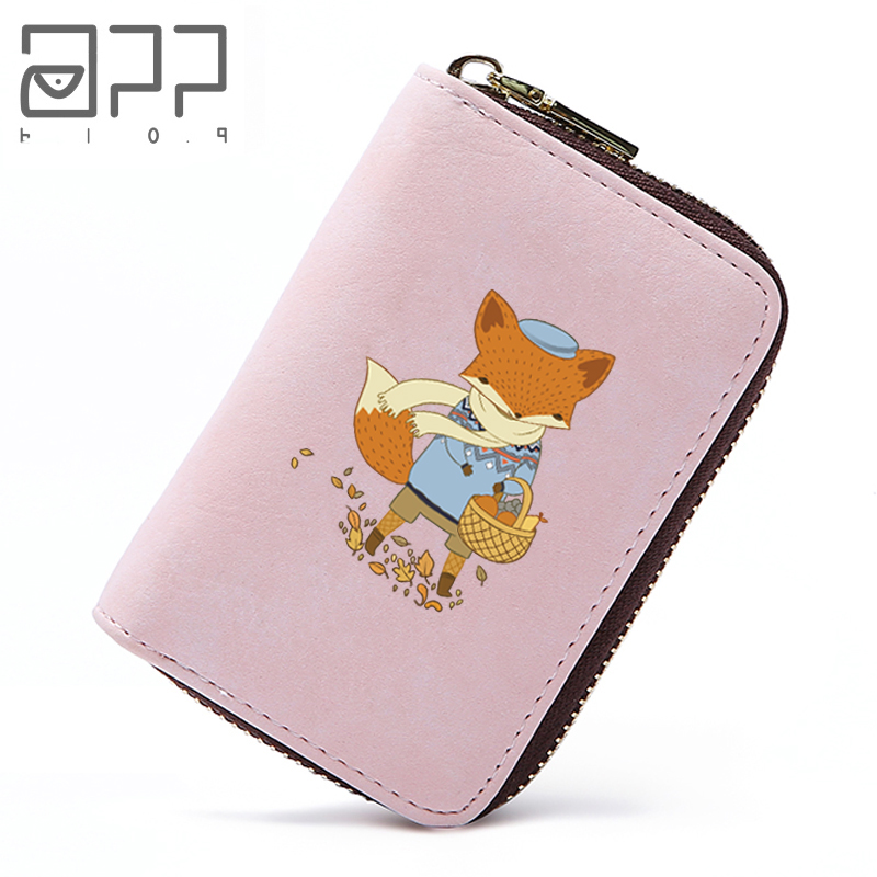 APP BLOG Cute Fox Design Business Credit ID Card Holder Case Wallet Practical Leather Passport Cover Organizer Bags For Femme 3d skull floral pu leather passport cover wallet travel function credit card package id holder storage money organizer clutch