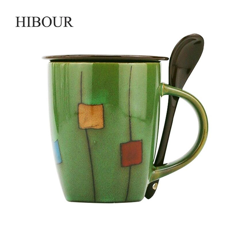 HIBOUR Creative Ceramic Tea Mug Hand-painted Milk Juice Lemon Mug Coffee Tea Cup Home Office Drinkware Unique Gift 330mL