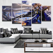 Canvas Wall Art Game Pictures Framework For Living Room Decorative 5 Pieces Overwatch Ana Painting HD Prints Modular Poster