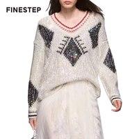 Роскошные свитера Для женщин Алмаз свитер на Для женщин Повседневное корейский пуловер свитер с v образным вырезом