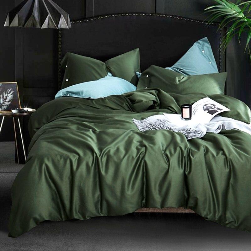 Pillowcase Sheets Bedding-Set Duvet-Cover Egyptian Satin Comfortable Solid-Color Cotton