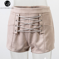 Lily Rosie Girl Fashion Women S Summer Shorts Casual High Waist Lace Up Zipper Back Short