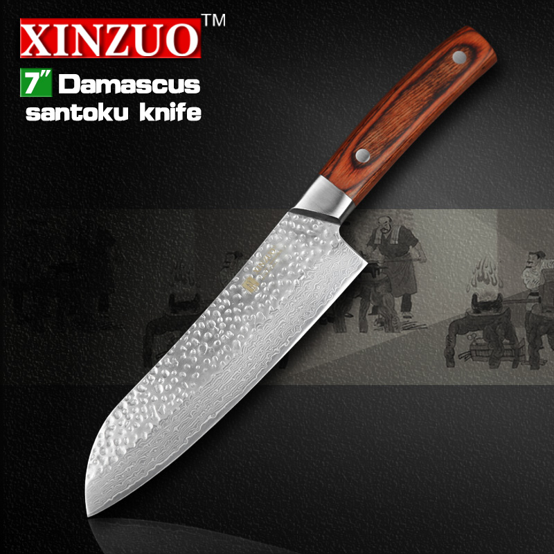 high quality 2016 XINZUO 7 inch santoku font b knife b font Japan VG10 Damascus kitchen