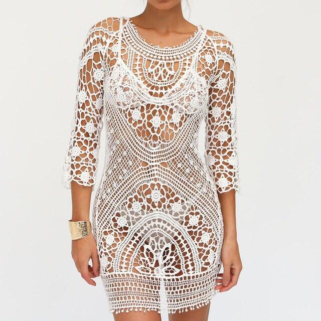 b358c5f27c TOP Fashion Dresses Women Beach Dress Female Sunsuit Lace Crochet Hollow  Out Bandage Backless Dress Womens Solid Beach Dress