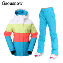 GsouSnow Snowboard Women Ski Jacket and Pants Set Outdoor Winter Sport Snow Female Coat Trousers Waterproof Thick Ski Suit
