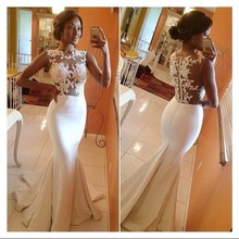 Custom Made 2014 Long Mermaid Dresses with Lace Appliques Sheer Evening Gown All White Dress Party Fitted Prom