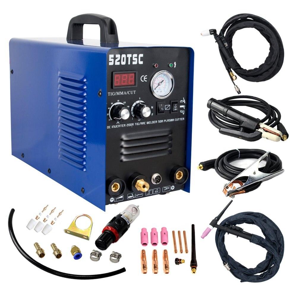 Plasma Cutter 3 in 1 110/220V 50A Cutter 200A TIG/MMA Schweiß Maschine Mit Verbrauchs (520TSC)