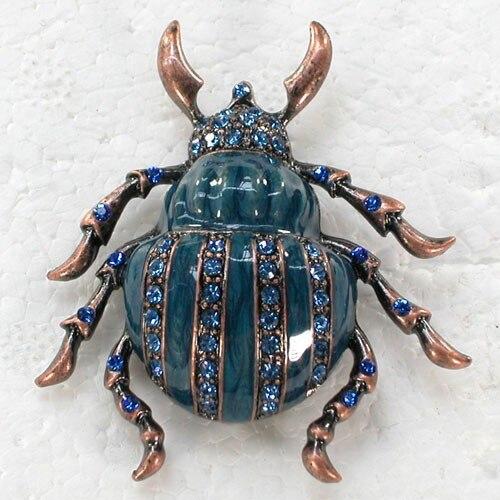Antique copper Blue Rhinestone Enamel Beetle Pin brooches C643 B3 цена 2017