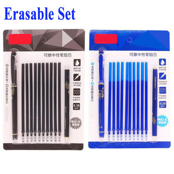 DELVTCH 0.38MM Erasable Gel Pen Rrfill Blue/Black Erasable Refills and Pen Set For School Office Writing Tool Student Stationery 1pcs 0 5mm erasable pen gel pen refills is black blue ink blue and black a magical writing neutral pen office school supplies