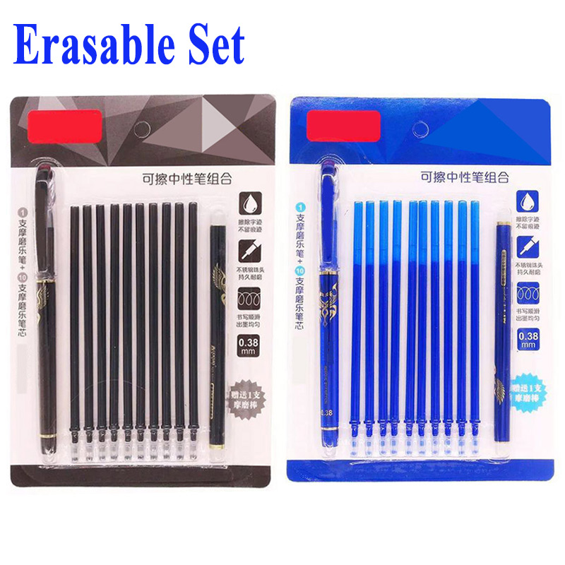 DELVTCH 0.38MM Erasable Suit Gel Pen Blue/Black Erasable Refills And Pens Set For School Office Writing Tools Student Stationery