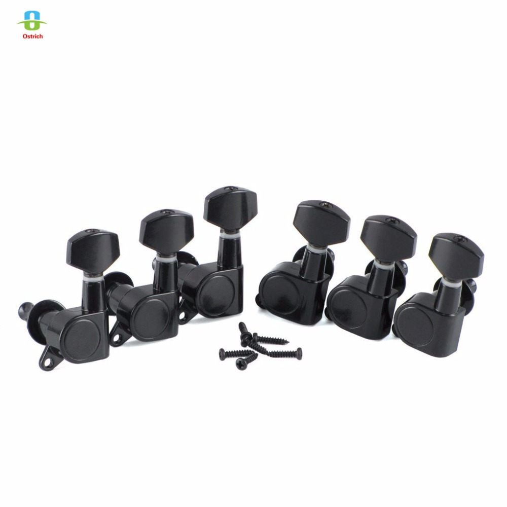 6R Black Tuning Pegs Sealed Machine Heads for Guitar String Tuning Pegs Tuners Keys Machine