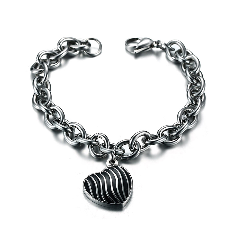 Men Fashion Jewelry Stainless Steel Chain Heart Charm Bracelet Bangle Unisex Pulseira Braslet Masculina Accessories