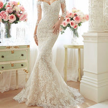 Women's off shoulder mermaid wedding dresses long sleeve