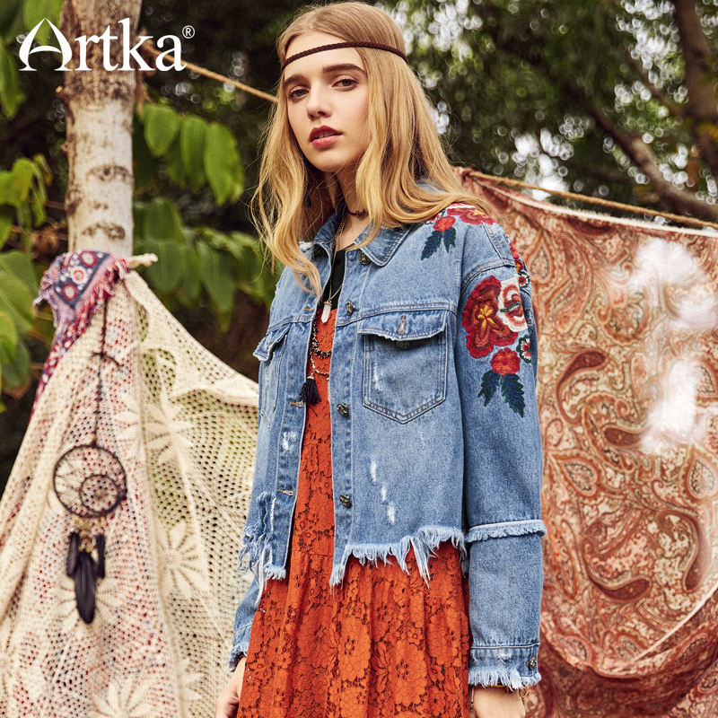 ARTKA Cotton Floral Embroidery Denim Short Jacket WN10083C
