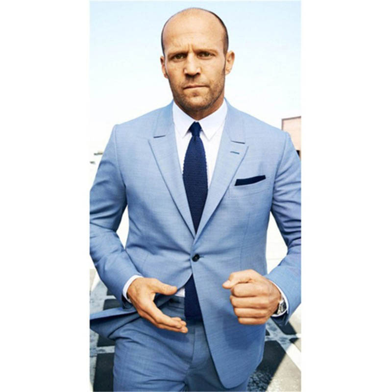 Notch Collar Tailored Fit Blue Grey Suit