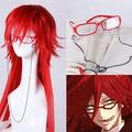 Лучшее качество! Мода стилем черный батлер Grell сатклифф-хранители длинный красный парик косплей термостойкость волос парики + красные очки + цепь