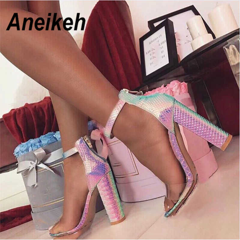 Aneikeh 2019 Summer New Sexy Colorful Snake Pattern High Square Heels Fashion PU Transparent Round Head Open Toe Lady Sandals