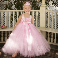 Blush Pink Flower Girl Dress With Flower Headband Princess Girls Bridesmaid Wedding Tutu Dresses Pink