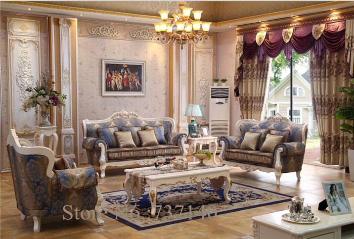 Hot Sell Antique Sofa Set Solid Wood Carving European Style Leather Living Room Furniture