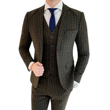 blazer (Jacket + vest pants) banquet suits Autumn winter men retro England plaid single-breasted military green Slim