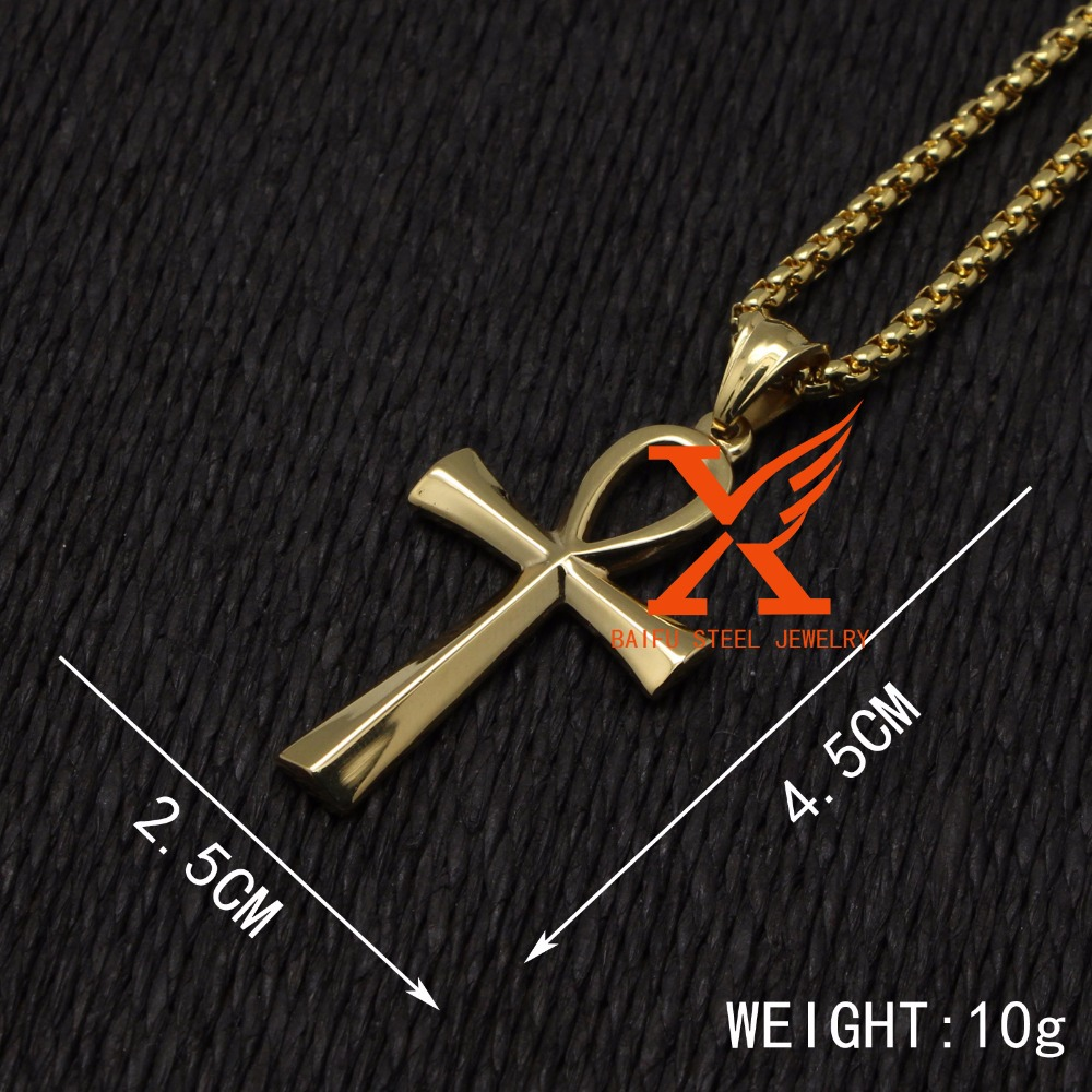 24 3mm 3d new egyptian ankh gold stainless steel ankh pendant