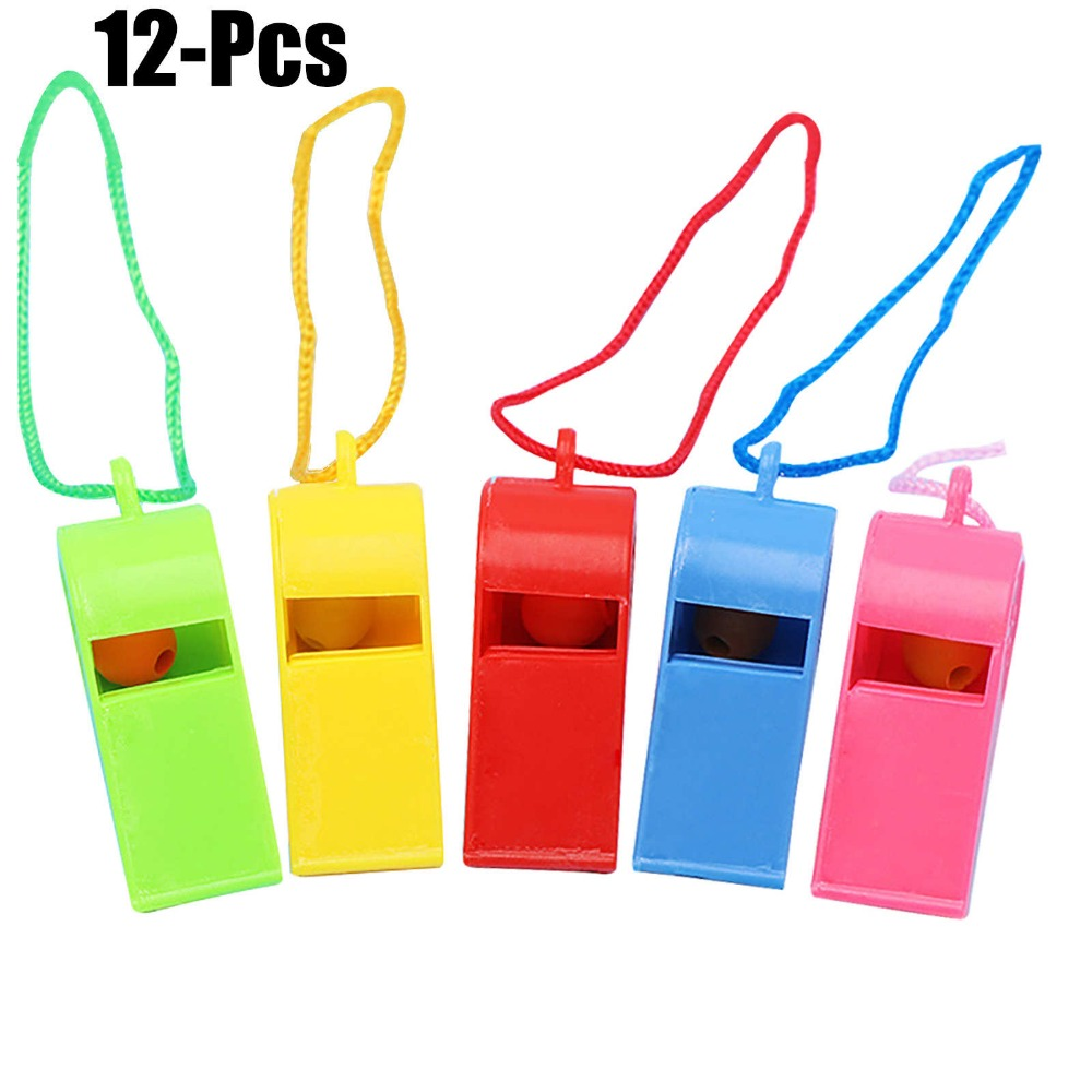 FunPa 12PCS Party Whistles Noise Maker Colorful Party Favors Toy Whistles With Lanyards For Party Sports In Random ColorFunPa 12PCS Party Whistles Noise Maker Colorful Party Favors Toy Whistles With Lanyards For Party Sports In Random Color