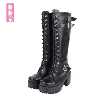 Princess sweet punk shoes The queen classic cool punk boots high boots lace muffin locomotive and Belt buckle women pu8431