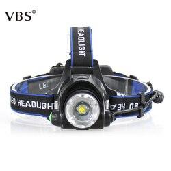 Head Flashlight 2000 Lumens Waterproof Headlight Led Rechargeable 18650 Headlamp Torch Lantern on Forehead for Camping Light