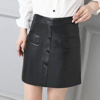2019 Women Slim Genuine Sheep Leather Skirt P21