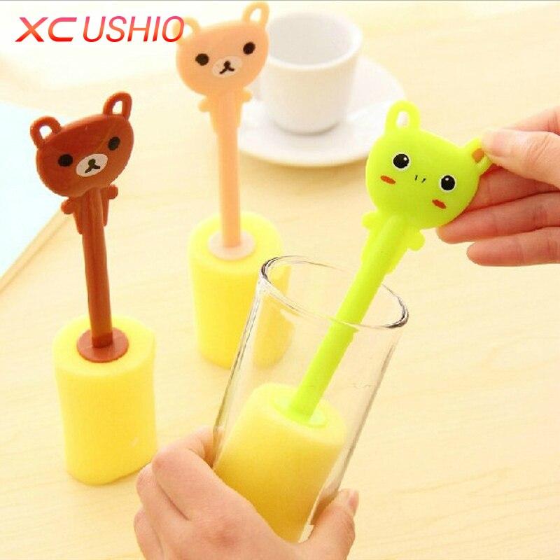 1pc Cartoon Animal Sponge Cup Rengöringsborste Kök Porslin Baby - Hushållsvaror