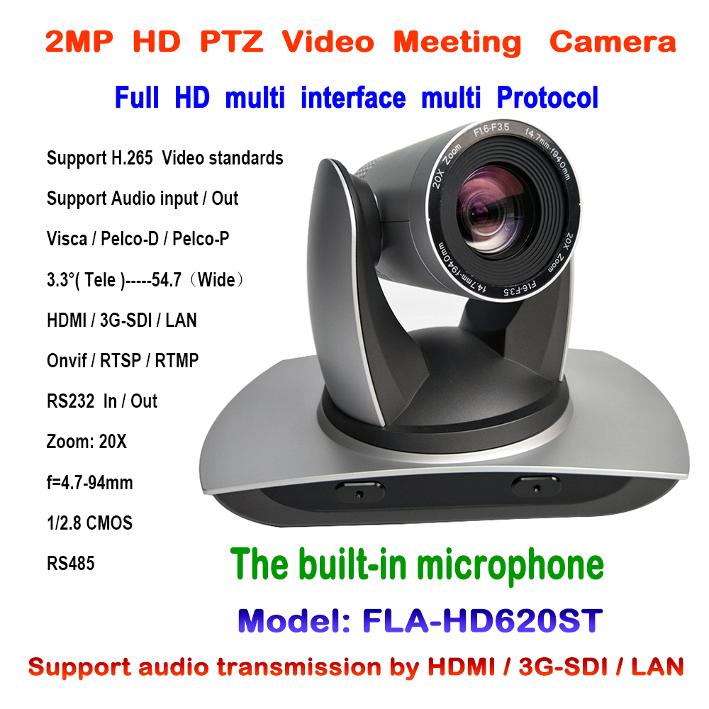 20X Zoom SDI 2MP PTZ IP Wifi Conference Camera with Simultaneous HDMI and HD SDI Audio Outputs Support RTSP VISCA Pelco Onvif