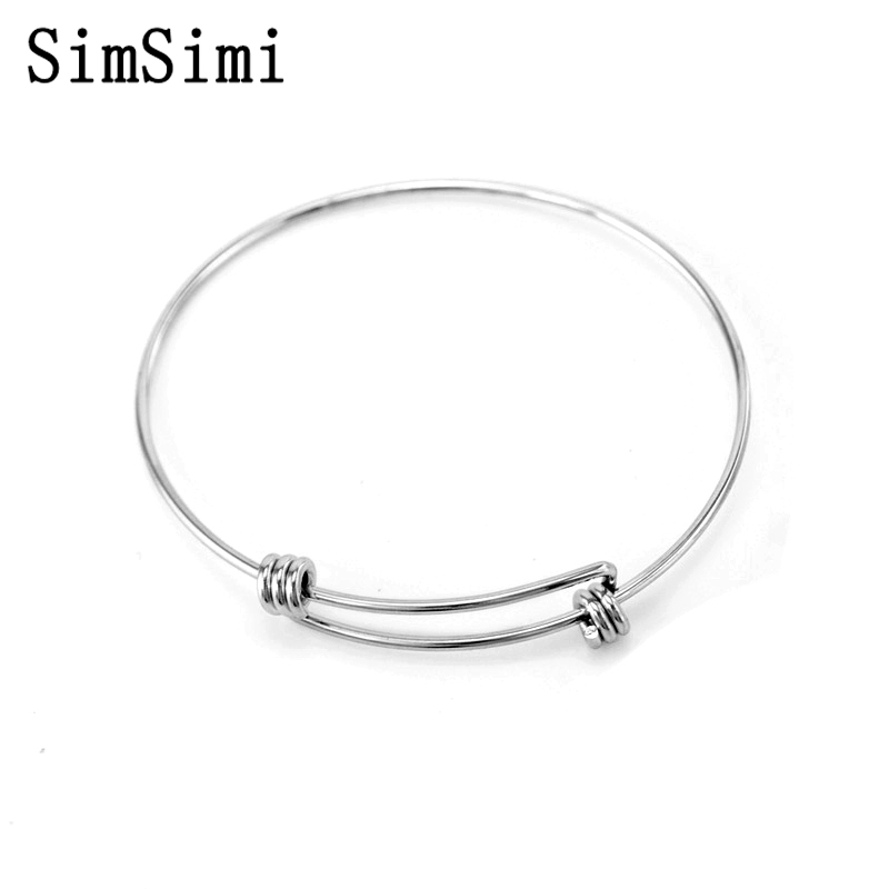 SimSimi 50 pcs Bulk of Simple Stainless Steel Fashion Jewelry for Women Girl Silver Color Plated Bracelets Bangles
