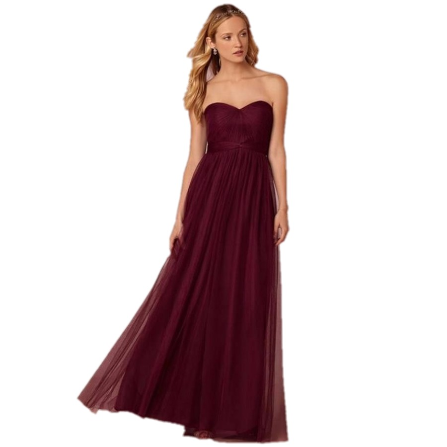 Under 100 Y Burgundy Long Bridesmaid Dresses Plus Size New 2016 Sweetheart Backless A Line Wedding Party Dress Custom In From