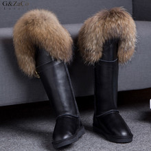 G&Zaco Luxury Winter Genuine Leather Snow Boots Natural Fox Fur Knee- High Boots Waterproof Flat Long Boots Raccoon Fur Boot