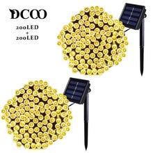 цена на Vmanoo 2 Pack Solar LED String Lights 22m 72ft 200 LEDs 8 Modes Outdoor Lighting String Lights Gardens Waterproof Warm White