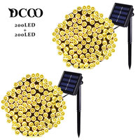 Dcoo 2 Pieces Solar LED String Lights 22m 72ft 200 LEDs 8 Modes Outdoor Lighting String Lights Gardens Waterproof Warm White