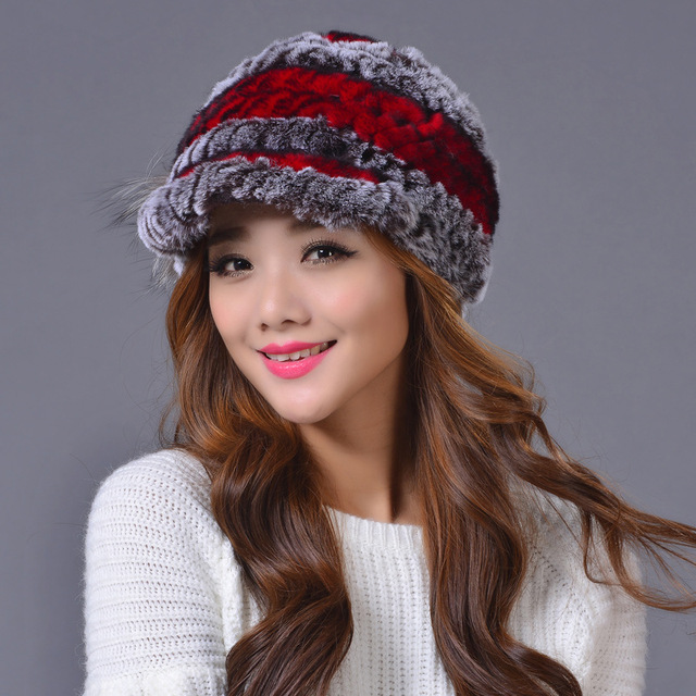 2016 winter fur hat for women real rex rabbit fur hat with flower knitted beanies new high-end women fur cap