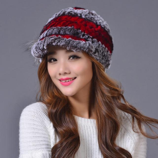 2016 winter fur hat for women real rex rabbit fur hat with flower knitted beanies new high-end women fur cap