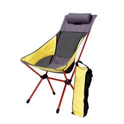 Silla plegable portátil de luna con almohada, pesca, Camping, extensible, asiento de senderismo, silla larga de playa, muebles de Color con contraste claro