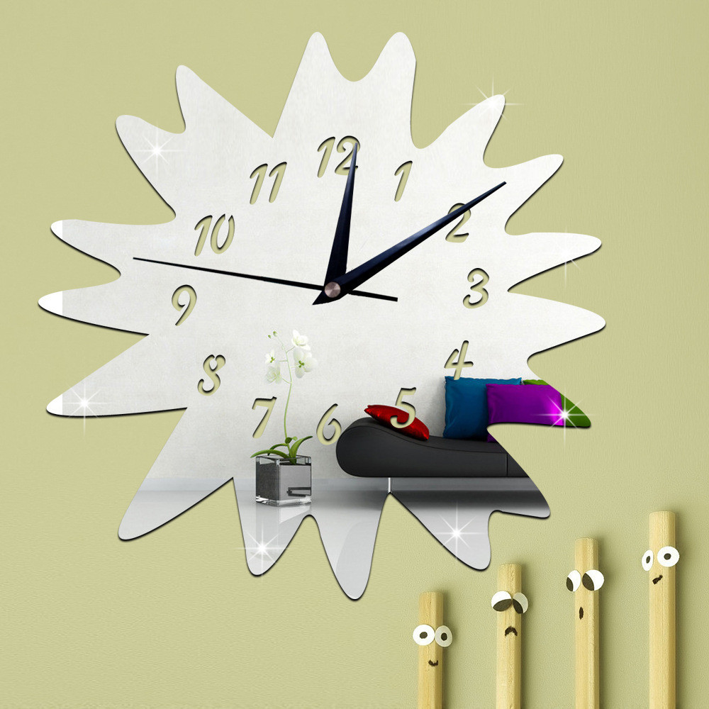 High Quality Modern DIY Wall Clock 3D Mirror Surface Sticker Home Office Decor Wall Sticker whoesale Gold Silver Wall poster