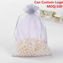 13x18cm Grey Organza Jewelry Gift Bags Small Drawstring Pouches Candy Bags Party Custom Logo Printed 100pcs/lot Wholesale
