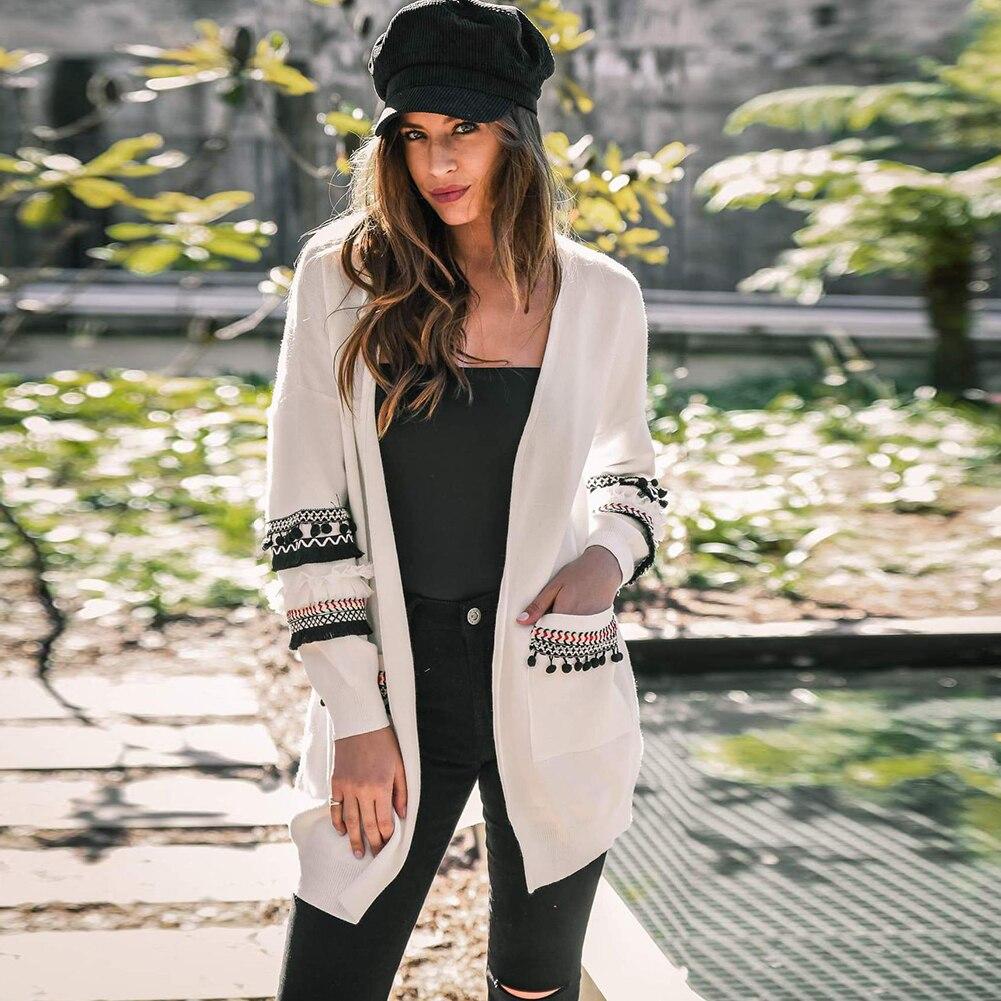 2018 herbst Winter Mode Frauen Lange Lose Stricken Quaste Pullover Strickjacken Tasche Frauen Strickte Weibliche Strickjacke Pull Femme