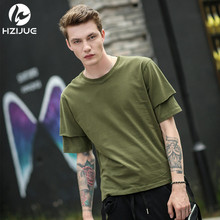 HZIJUE 2017 Original double sleeves design t-shirt summer men t cotton tees Tops pure solid color high street loose male tshirt