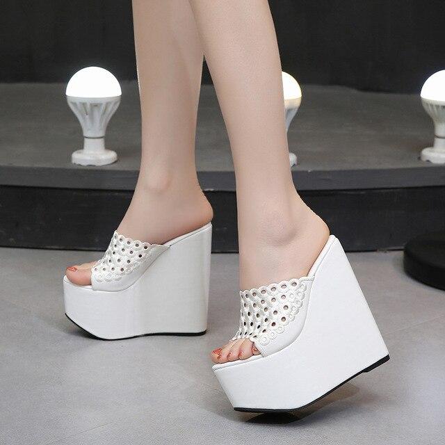 ac4513cb1d70 Summer Women Shoes High Heel 15CM Platform Slippers Fashion Casual Hollow  Out Shoes Ladies Wedges Beach Sandals Women Flip Flops