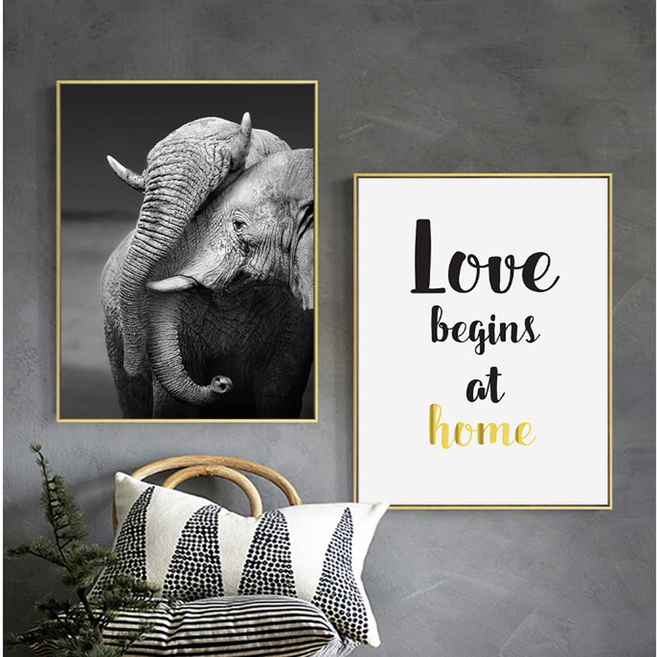 Elephant Home Love Abstract Canvas Painting Minimalist Nordic Poster and Print Wall Art Pictures for Living Room Home Decor
