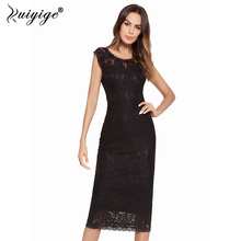 Ruiyige Для женщин на шнуровке пикантные летние платье выдалбливают спинки оболочки Встроенная Танк Вечерние платье работы Повседневное элегантные вечерние платья