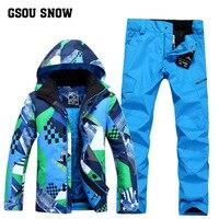 GSOU снег новый мужской лыжный костюм один доска спорта на открытом воздухе ветрозащитный теплый дышащий Водонепроницаемый куртка лыжные шт...
