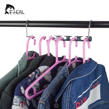 FHEAL 6 Holes Metal Hanger With Activity Hook Non slip Space Saving Magic Clothes Hanger Clothes
