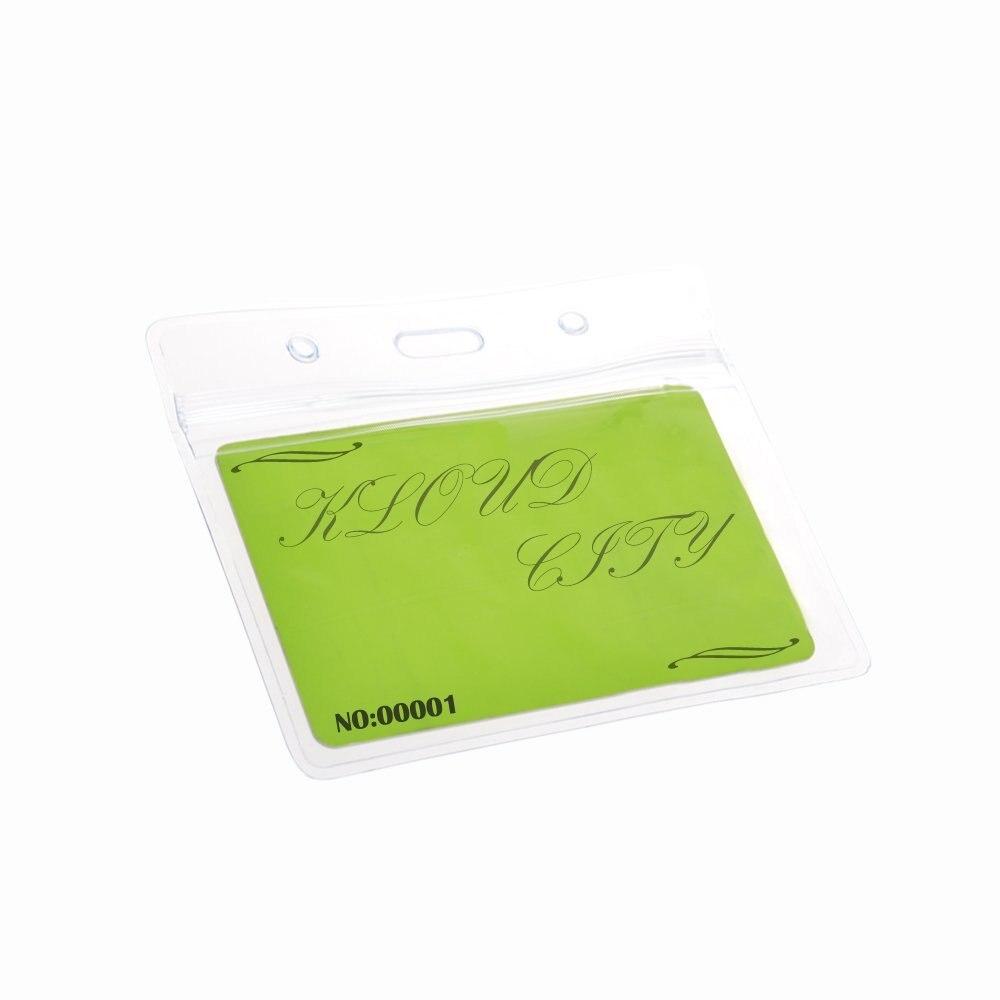 15 Pcs PVC Transparent Holder ID Badge Carte De Visite Cas Avec Fente Chain Trous Horizontale Style Dans Porte Accessoires Fournitures