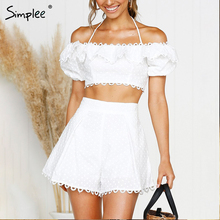 bd50c33791 Simplee Elegant two-piece embroidery women playsuit Sexy off shoulder lace  up short jumpsuit dot